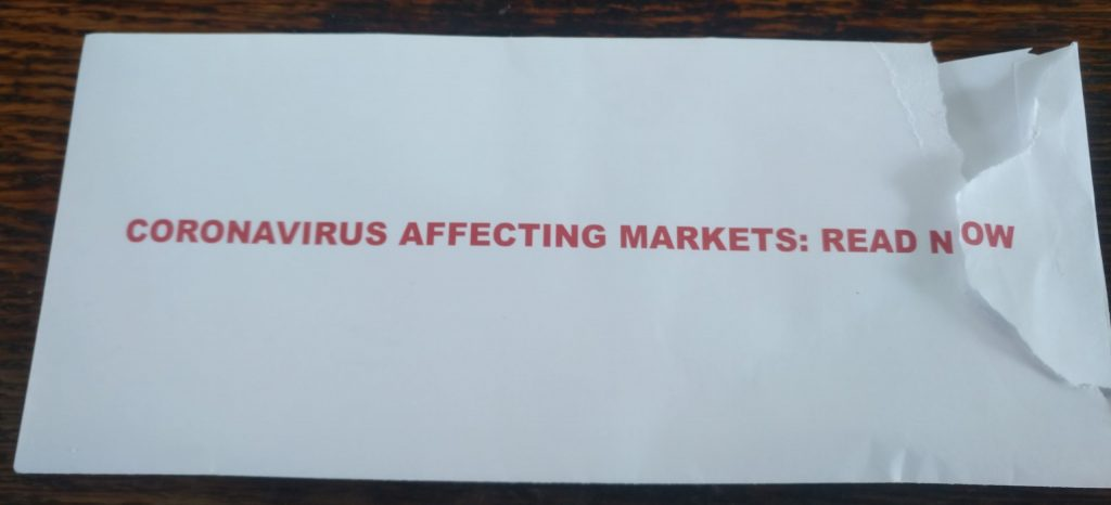 "Envelope that says ""Coronavirus affecting Markets: Read Now"""