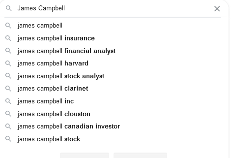 "Google Auto complete Results for ""James Campbell"""